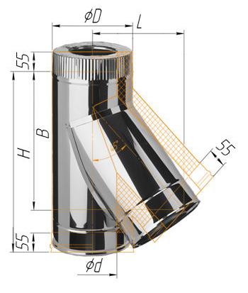 Сэндвич-тройник угол 135 для дымохода
