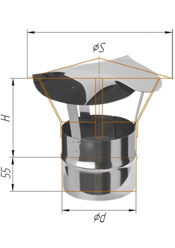 Зонт-К для дымохода